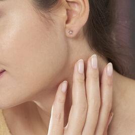 Boucles D'oreilles Puces Eleanor Fleur Or Rose Oxyde De Zirconium - Clous d'oreilles Femme | Histoire d'Or
