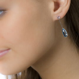 Boucles D'oreilles Pendantes Sela Or Blanc Topaze Et Sans - Boucles d'oreilles pendantes Femme | Histoire d'Or