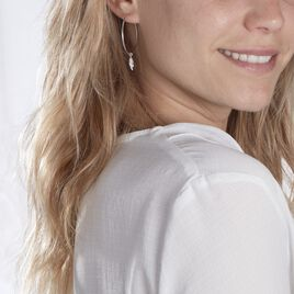 Créoles Massa Pampille Argent Blanc - Boucles d'Oreilles Plume Femme   Histoire d'Or
