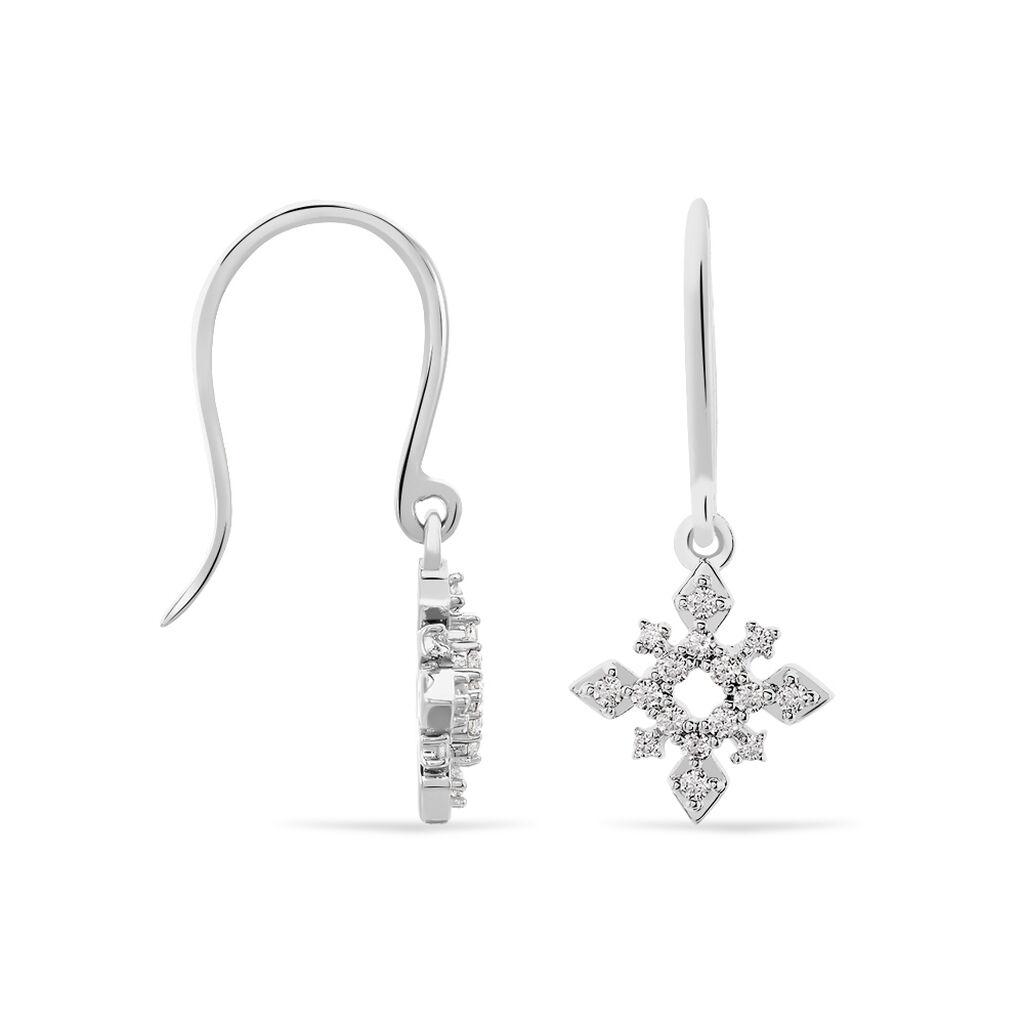 Boucles D'oreilles Puces Anea Or Blanc Diamant - Boucles d'oreilles pendantes Femme   Histoire d'Or