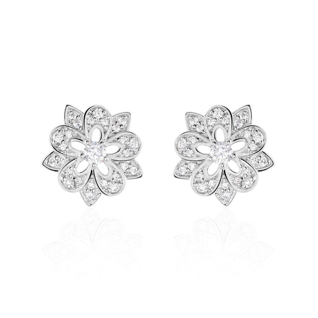 Boucles D'oreilles Puces Iona Argent Blanc Oxyde De Zirconium - Boucles d'oreilles fantaisie Femme | Histoire d'Or