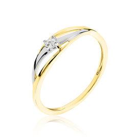Bague Philippine Or Bicolore Diamant - Bagues solitaires Femme | Histoire d'Or