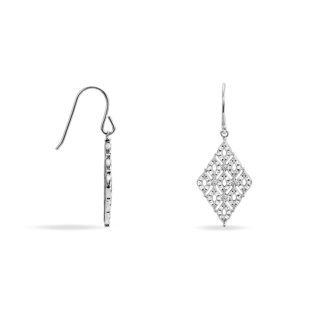 Boucles D'oreilles Pendantes Precieuse Argent Blanc Oxyde De Zirconium - Boucles d'oreilles fantaisie Femme   Histoire d'Or