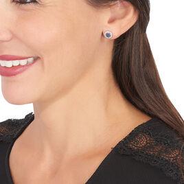 Boucles D'oreilles Puces Lise-laure Or Blanc Saphir Et Diamant - Clous d'oreilles Femme | Histoire d'Or