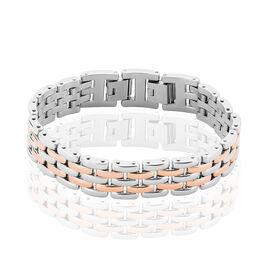 Bracelet Mareva Maille Grain De Riz Acier Bicolore - Bracelets fantaisie Femme | Histoire d'Or