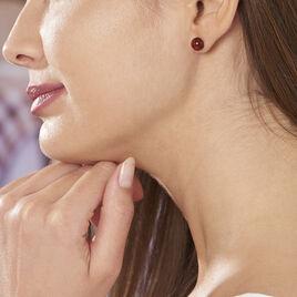 Boucles D'oreilles Argent Puces Boule Ambre - Boucles d'oreilles fantaisie Femme | Histoire d'Or