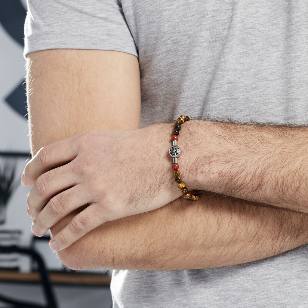 Bracelet Houria Acier Blanc Pierre De Synthese Et Olivine - Bijoux Ancre Homme | Histoire d'Or