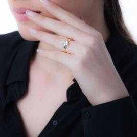 Bague Emeline Or Bicolore Topaze - Bagues solitaires Femme   Histoire d'Or