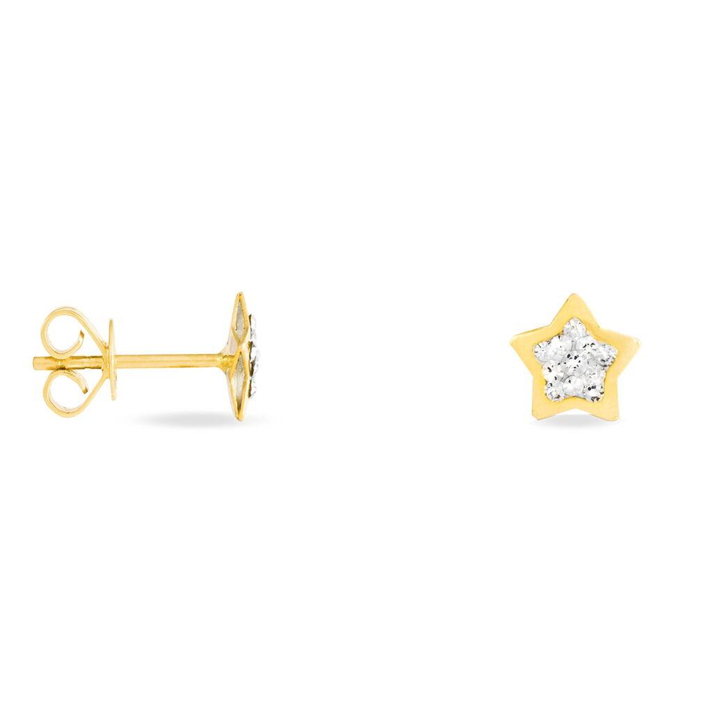 Boucles D'oreilles Puces Elais Etoile 0 Or Jaune Strass - Boucles d'Oreilles Etoile Femme   Histoire d'Or