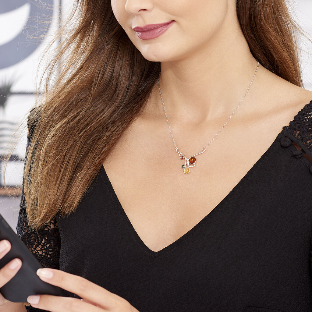 Collier Dorka Argent Blanc Ambre - Colliers fantaisie Femme | Histoire d'Or