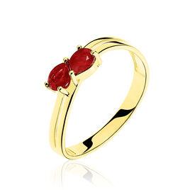Bague Leila Or Bicolore Rubis - Bagues avec pierre Femme   Histoire d'Or