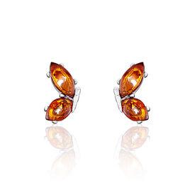 Boucles D'oreilles Puces Asma Argent Blanc Ambre - Boucles d'Oreilles Papillon Femme | Histoire d'Or