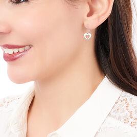 Boucles D'oreilles Puces Dafne Argent Blanc - Boucles d'Oreilles Coeur Femme   Histoire d'Or