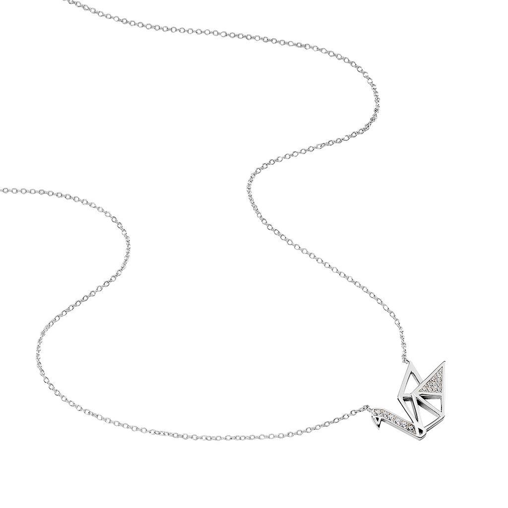 Collier Origami Argent Blanc Oxyde De Zirconium - Colliers fantaisie Femme   Histoire d'Or