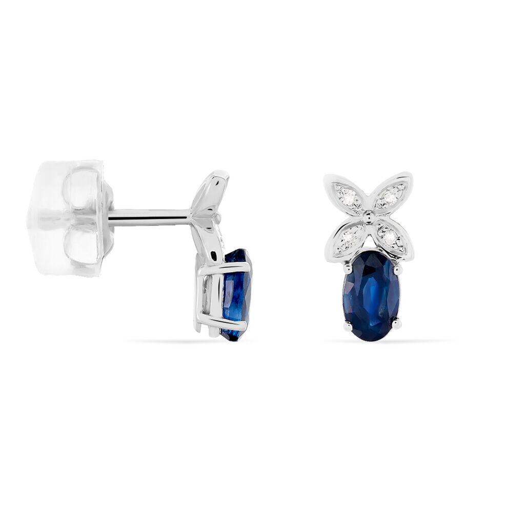 Boucles D'oreilles Puces Andrey Or Blanc Saphir Et Diamant - Boucles d'Oreilles Croix Femme   Histoire d'Or