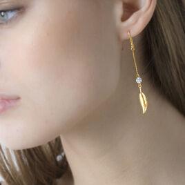 Boucles D'oreilles Pendantes Powoo Or Jaune Strass - Boucles d'Oreilles Etoile Femme | Histoire d'Or