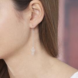 Boucles D'oreilles Pendantes Souadou Argent Blanc - Boucles d'oreilles fantaisie Femme | Histoire d'Or