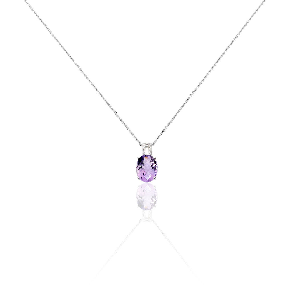 Collier Or Blanc Amethyste Et Diamant - Bijoux Femme | Histoire d'Or
