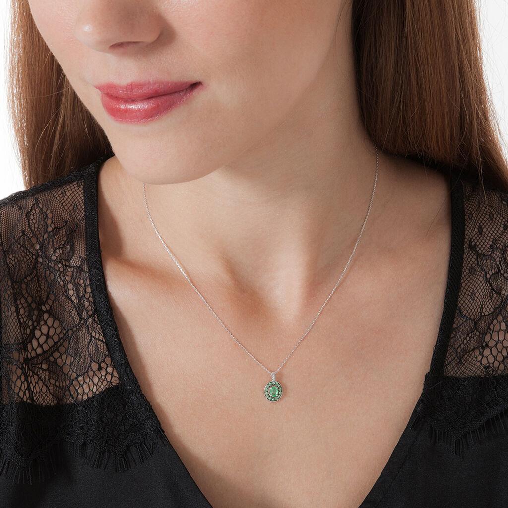 Collier Leona Or Blanc Emeraude Diamant - Bijoux Femme | Histoire d'Or