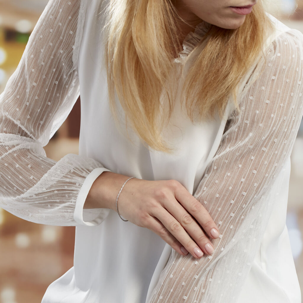 Bracelet Helaine Maille Fantaisie Torsade Argent Blanc - Bracelets chaîne Femme   Histoire d'Or