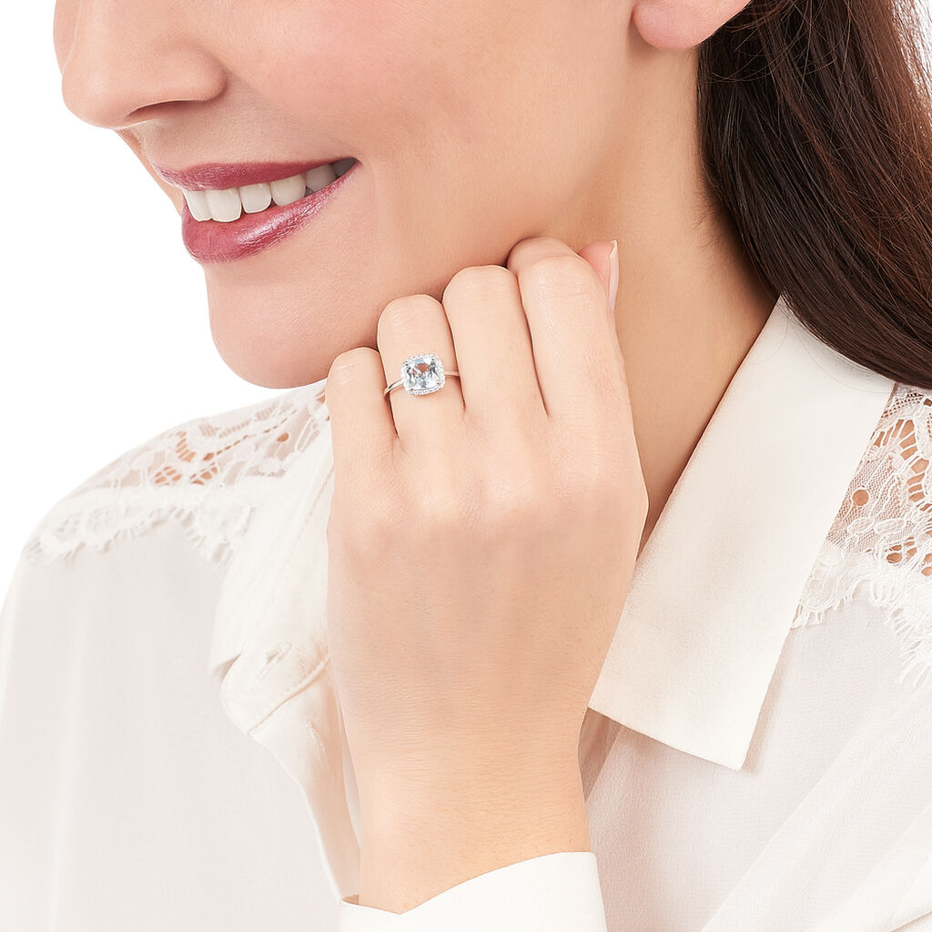 Bague Solitaire Brivael Or Blanc Topaze Et Diamant - Bagues avec pierre Femme   Histoire d'Or