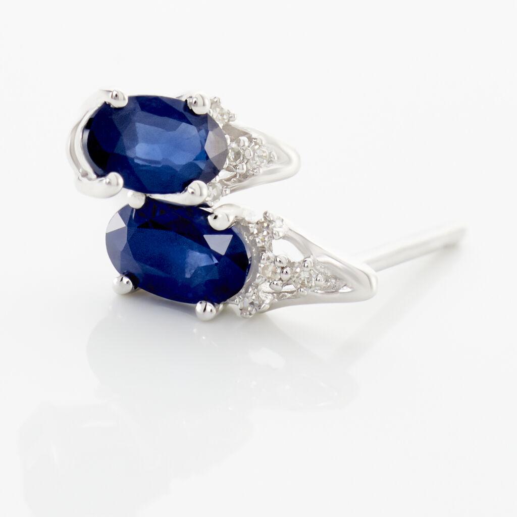 Boucles D'oreilles Puces Marie Or Blanc Saphir Et Diamant - Clous d'oreilles Femme | Histoire d'Or