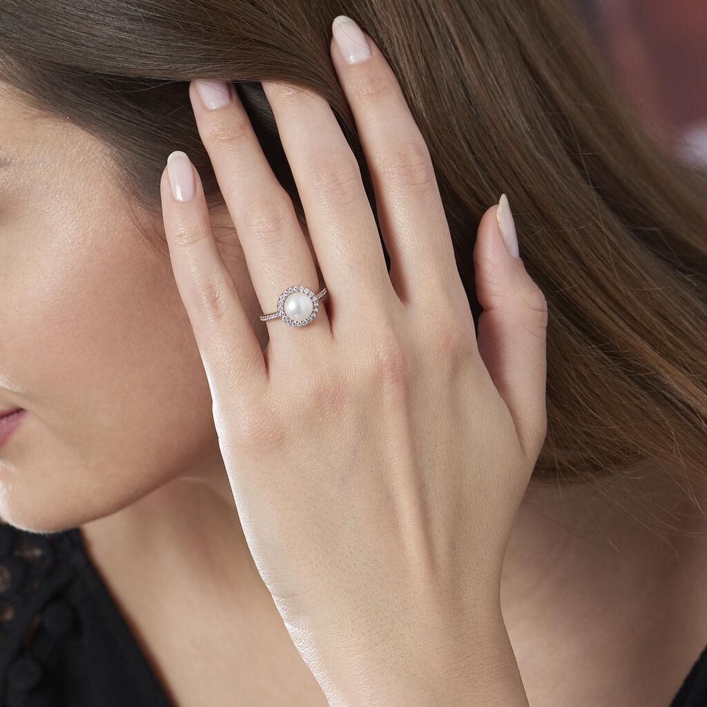 Bague Olivia Argent Blanc Perle De Culture Et Oxyde De Zirconium - Bagues avec pierre Femme   Histoire d'Or