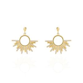 Boucles D'oreilles Pendantes Adena Plaque Or Jaune Oxyde De Zirconium - Boucles d'oreilles pendantes Femme   Histoire d'Or