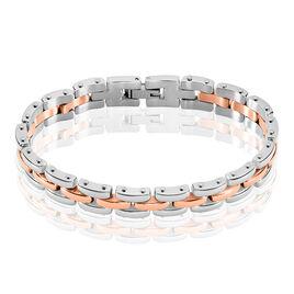 Bracelet Yoela Maille Grain De Riz Acier Bicolore - Bracelets fantaisie Femme   Histoire d'Or