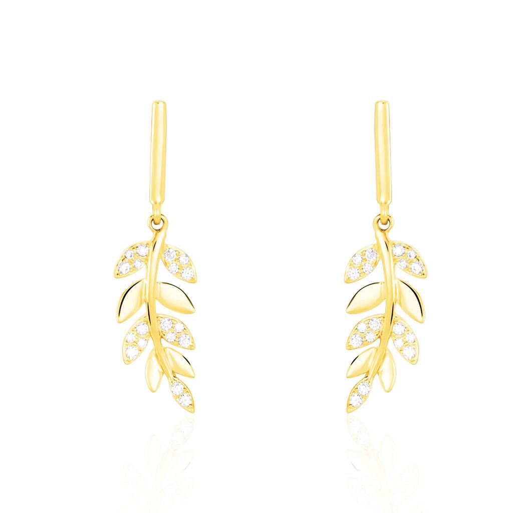 Boucles D'oreilles Pendantes Nahia Or Jaune Oxyde De Zirconium - Boucles d'Oreilles Plume Femme | Histoire d'Or