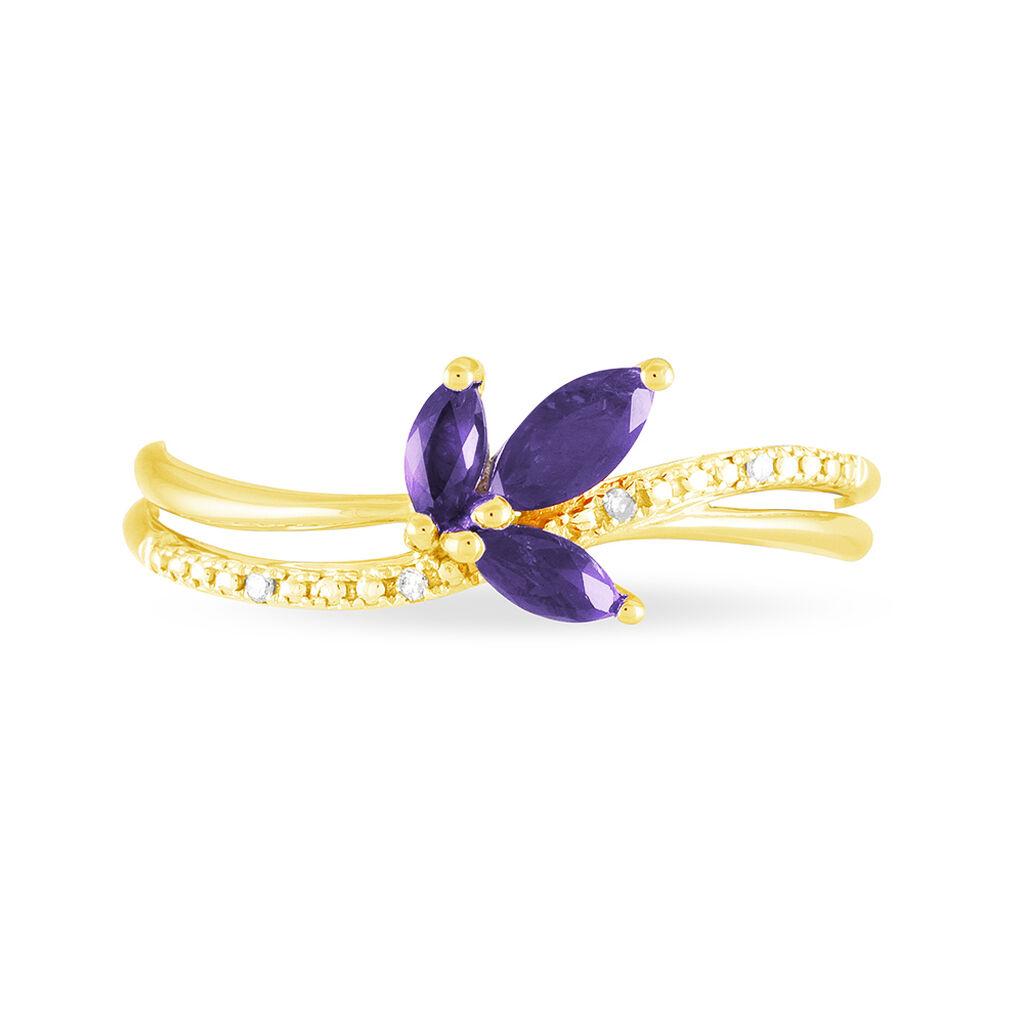 Bague Maura Or Jaune Amethyste Et Diamant - Bagues avec pierre Femme | Histoire d'Or