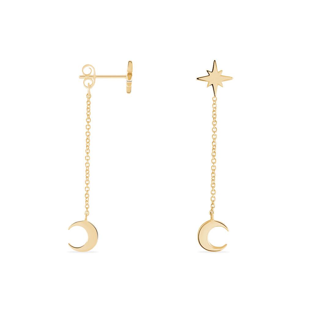 Boucles D'oreilles Pendantes Ara Plaque Or Jaune - Boucles d'Oreilles Etoile Femme   Histoire d'Or