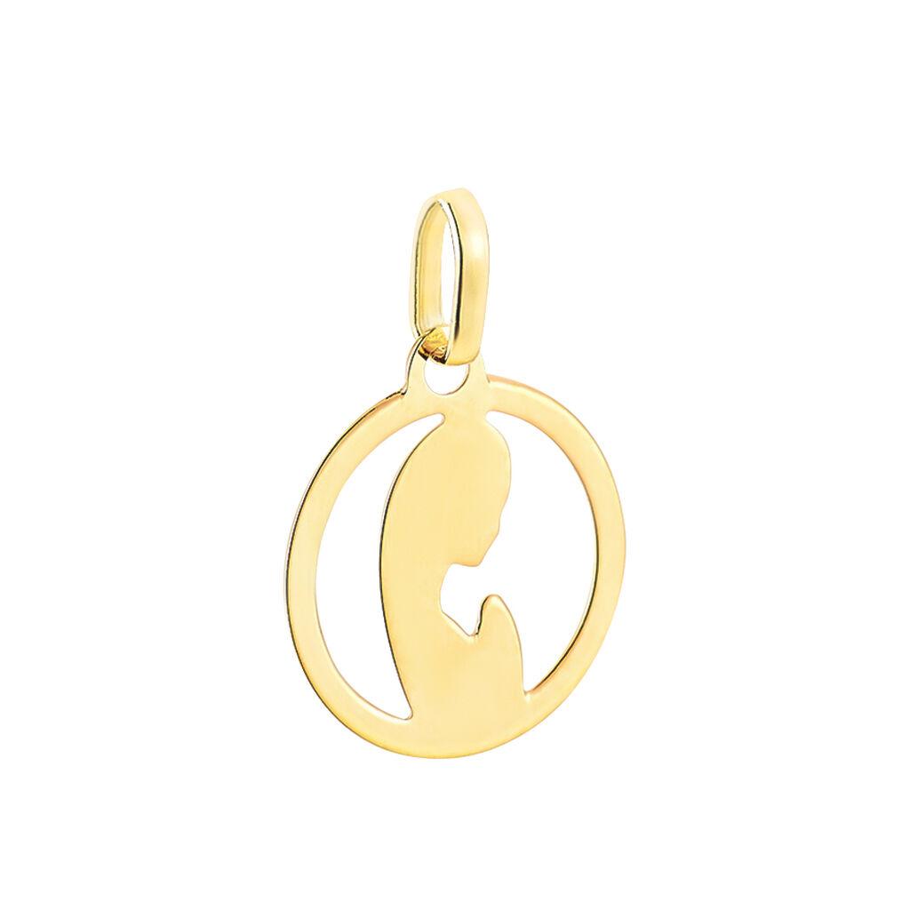 Pendentif Vierge Rond Diamante Or Jaune - Naissance Enfant   Histoire d'Or