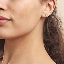 Boucles D'oreilles Puces Daria Cœur Or Jaune Oxyde De Zirconium - Boucles d'Oreilles Coeur Femme   Histoire d'Or