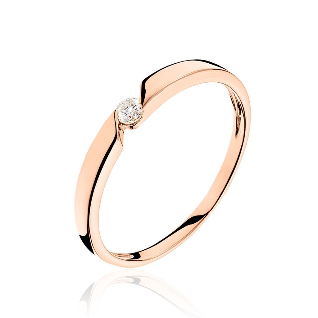 Bague Solitaire Anilie Or Rose Diamant - Bagues solitaires Femme   Histoire d'Or