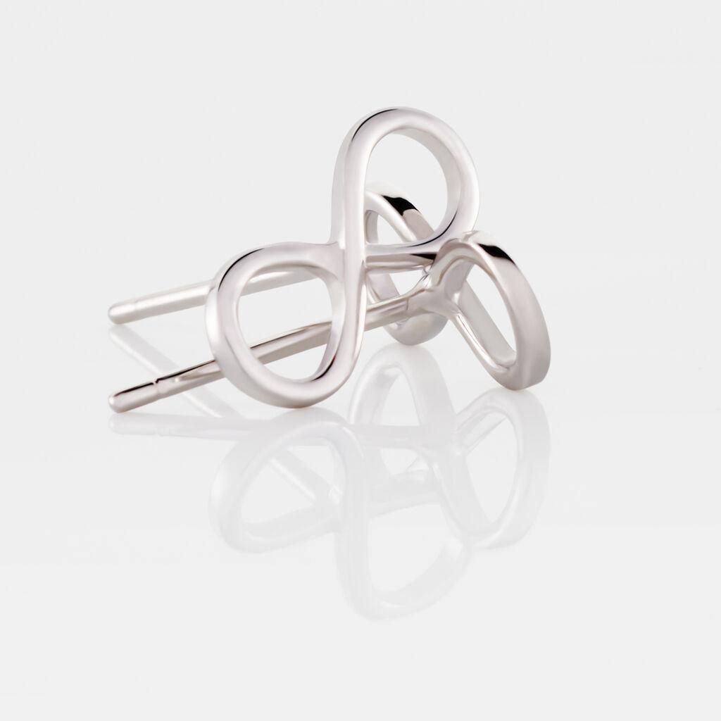 Boucles D'oreilles Pendantes Imane Argent Blanc - Boucles d'Oreilles Infini Femme | Histoire d'Or