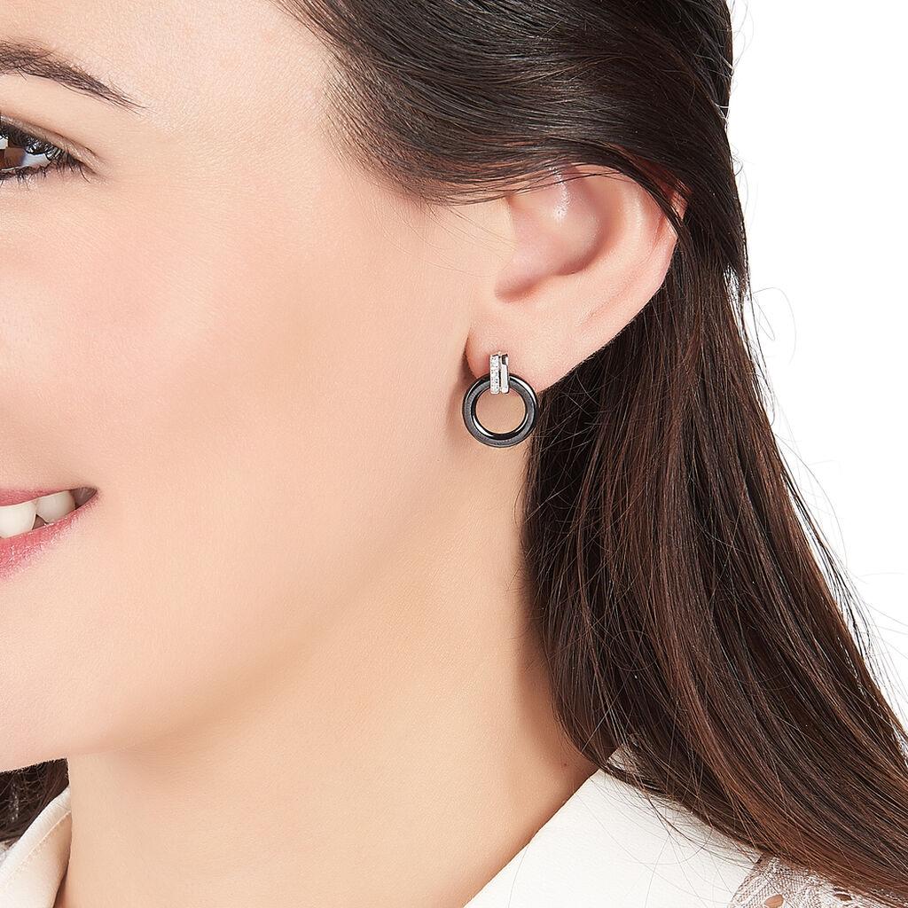 Boucles D'oreilles Pendantes Bertillianne Argent Céramique Et Oxyde - Boucles d'oreilles fantaisie Femme   Histoire d'Or