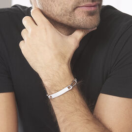 Bracelet Identité Vila Maille Alternee 1/2 Argent Blanc - Gourmettes Homme | Histoire d'Or