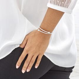Bracelet Jonc Noûr Argent Blanc - Bracelets joncs Femme | Histoire d'Or