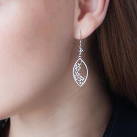 Boucles D'oreilles Pendantes Tarin Argent Blanc Pierre De Synthese - Boucles d'Oreilles Plume Femme | Histoire d'Or