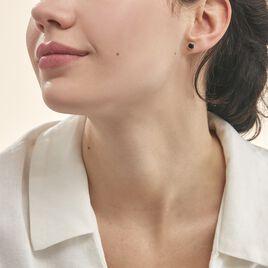 Boucles D'oreilles Puces Edy Serti Clos Or Jaune Saphir - Clous d'oreilles Femme | Histoire d'Or