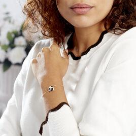 Bracelet Argent Dore Leos Ronde Nacre Leopard - Bracelets fantaisie Femme | Histoire d'Or