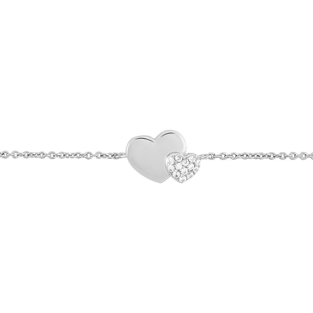 Bracelet Flamen Argent Blanc Oxyde De Zirconium - Bracelets Coeur Femme | Histoire d'Or