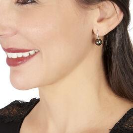 Boucles D'oreilles Puces Elfrea Or Blanc Perle De Tahiti Et Diamant - Boucles d'oreilles pendantes Femme   Histoire d'Or