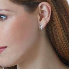 Boucles D'oreilles Puces Solea Or Blanc Diamant - Boucles d'Oreilles Infini Femme   Histoire d'Or