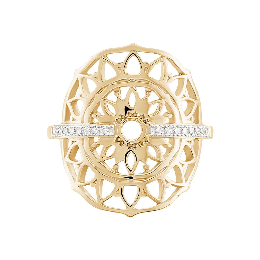 Bague Gwendoline Plaque Or Jaune Oxyde De Zirconium - Bagues avec pierre Femme | Histoire d'Or