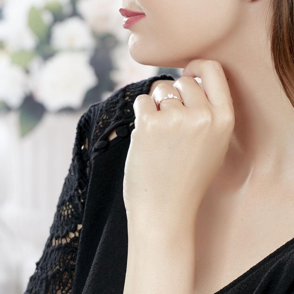 Bague Norhen Or Rose Oxyde De Zirconium - Bagues solitaires Femme   Histoire d'Or