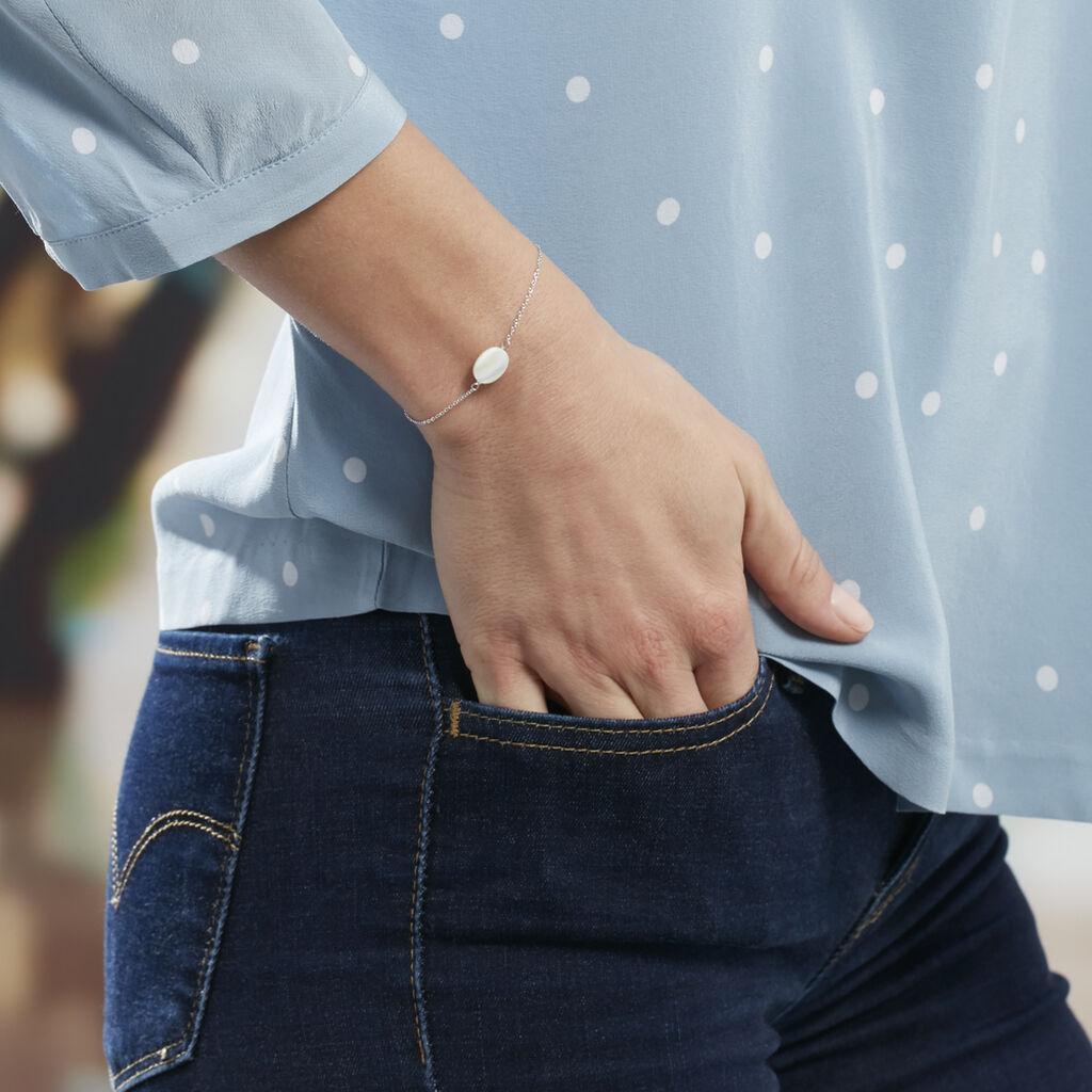 Bracelet Sirene Argent Blanc Nacre - Bracelets fantaisie Femme   Histoire d'Or