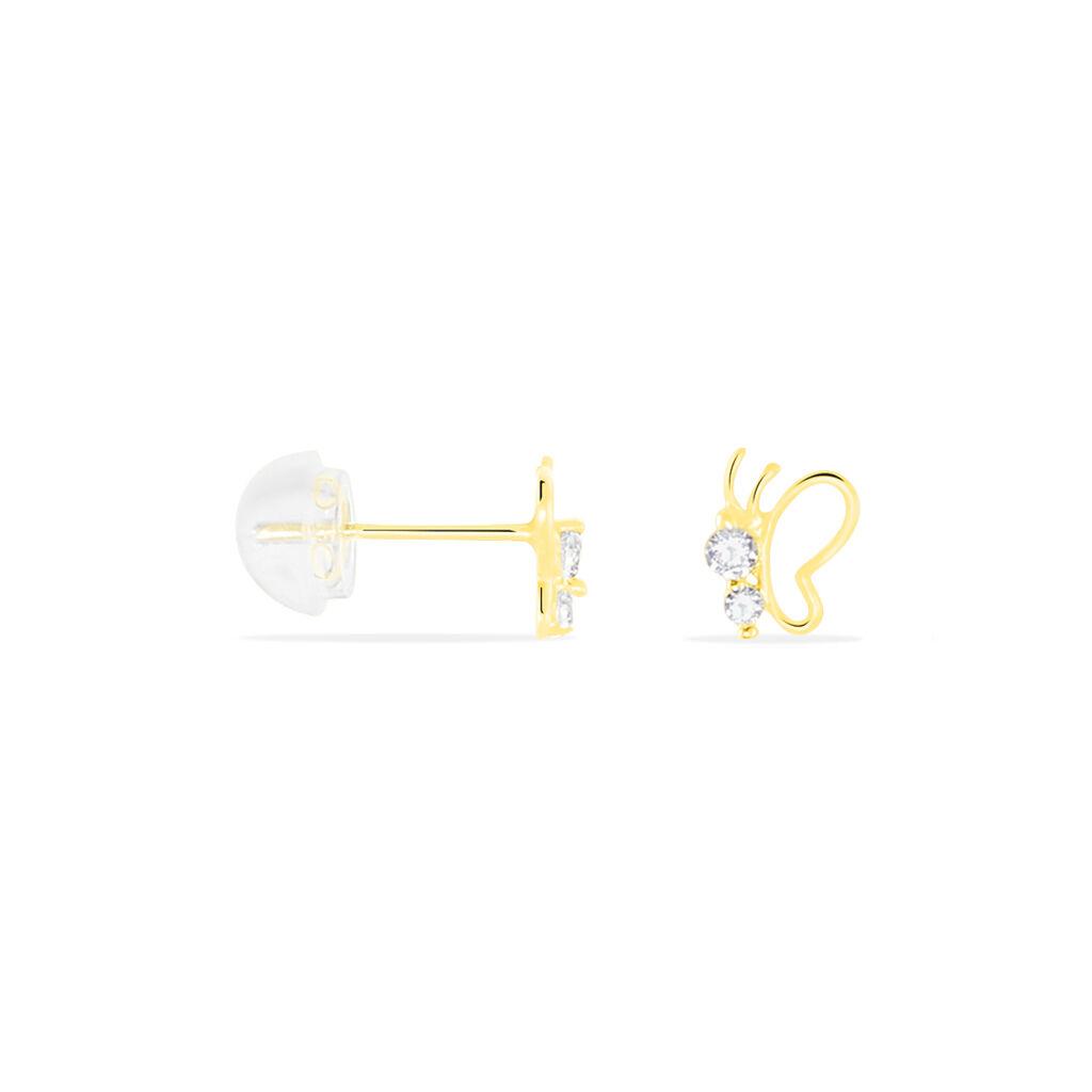Boucles D'oreilles Puces Evaelle Papillon Or Jaune Oxyde De Zirconium - Boucles d'Oreilles Papillon Femme | Histoire d'Or