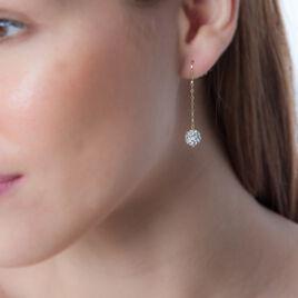 Boucles D'oreilles Pendantes Thetis Or Jaune Strass - Boucles d'oreilles pendantes Femme | Histoire d'Or